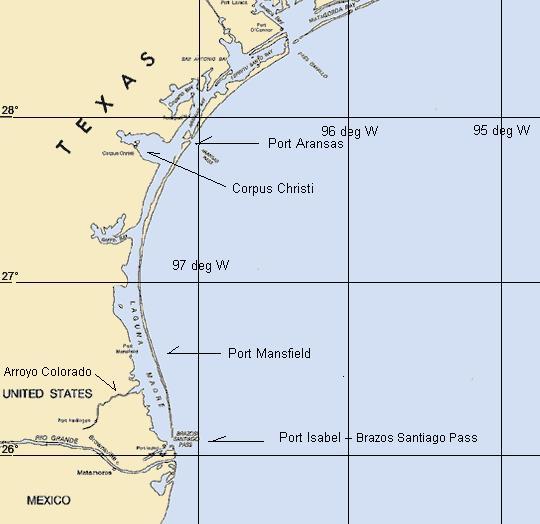 Map Of Texas Islands.Texas Cruising Area Maps